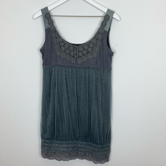 Anthropologie Dresses & Skirts - Anthropologie Hazel Gray Lace Mini Dress Size S